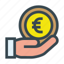 aid, charity, coin, contribution, donate, donation, euro icon