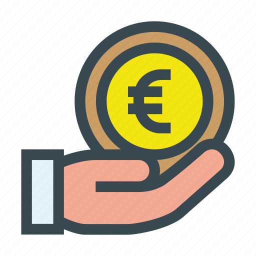 aid, charity, coin, contribution, donate, donation, euro icon
