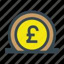 bank, currency, deposit, money, pound, save, savings icon