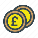 coin, coins, currency, metal, money, pound icon