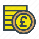 coin, coins, currency, money, pound, stack icon