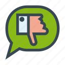 bubble, chat, dialog, down, message, speech, thumb, unlike icon