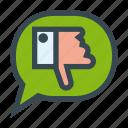 bubble, chat, dialog, down, speech, thumb, dislike
