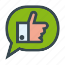 bubble, chat, dialog, like, message, speech, thumb, up icon