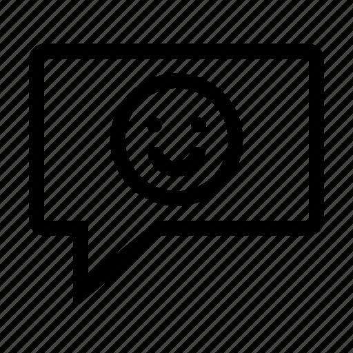 bubble, chat, emoticon, message, talk, text icon