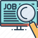 hiring, job, job search, recruiting, search icon