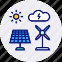 green, energy, clean, power, solar, windmill icon