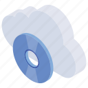 cloud storage, data storage, disc technology, online storage, server storage icon