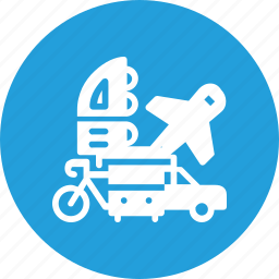 bus, car, integration, multimodel, plane, transpotation, vehicle icon