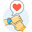 heart, wrist, smart, sensor, rate, devices, watch, measure, check icon