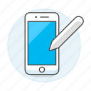 features, mobile, pen, phone, smartphone, stylus icon