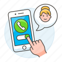 accept, answer, bubble, call, calls, female, incoming, mobile, phone, receive, smartphone, speech