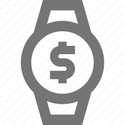 dollar, money, smart watch, watch icon