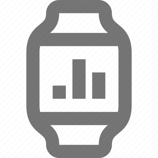 bar, graph, smart watch, watch icon
