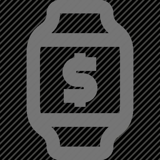dollar, money, smart watch, watch icon