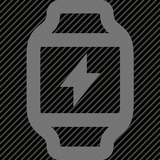 flash, lightning, smart watch, watch icon