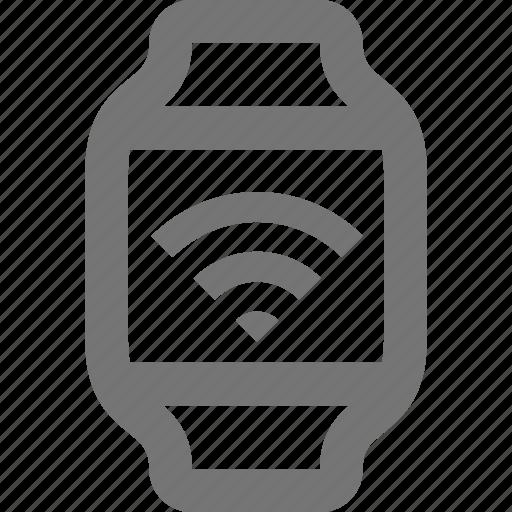 device, iwatch, signal, smart, time, watch, wireless, wrist icon