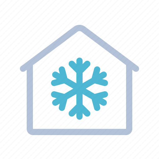 air condition, frost, home, house, smart home, snow flake, technology icon