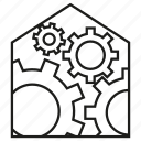 cog, gear, home, home automation, house, smart home, system icon