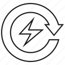 arrow, electricity, energy, power, reserve, save icon