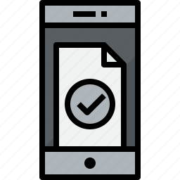 check, communication, device, doc, phone, smartphone, talk icon