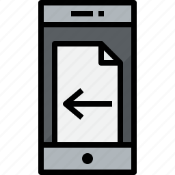 communication, device, doc, left, phone, smartphone, talk icon