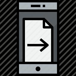 communication, device, doc, phone, right, smartphone, talk icon