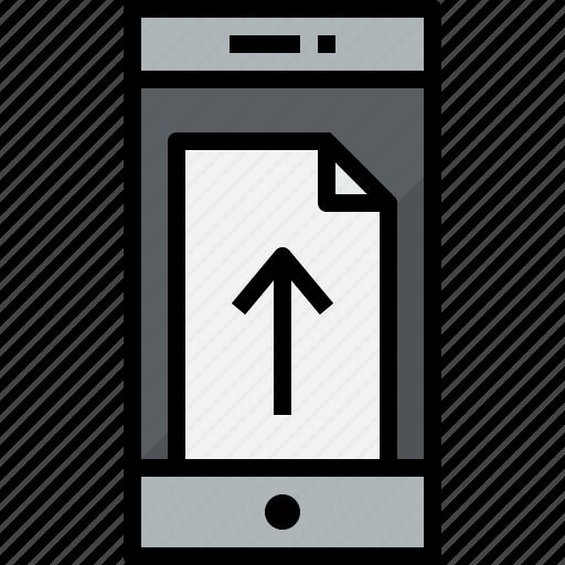 communication, device, doc, phone, smartphone, talk, up icon