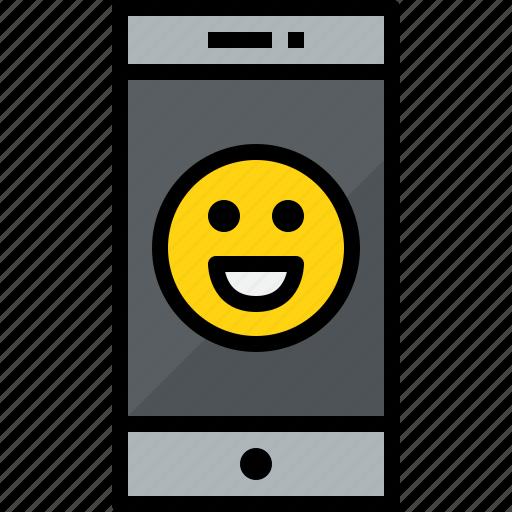cellphone, communication, device, emotion, phone, smartphone, talk icon