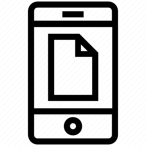 cell phone, device, document, file, mobile, paper, smart phone icon