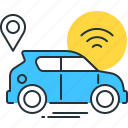 autonomous, car, connected, internet, vehicle, wifi, wireless icon