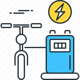 bicycle, bike, charging, cycle, cycling, electric, station icon