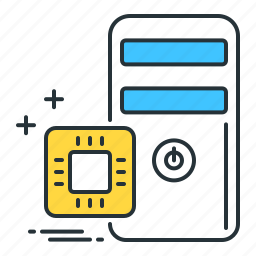 computing, cpu, hardware, microchip, power, processing, technology icon