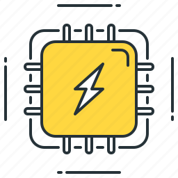 charge, electric, electrical, electricity, energy, power, processing icon