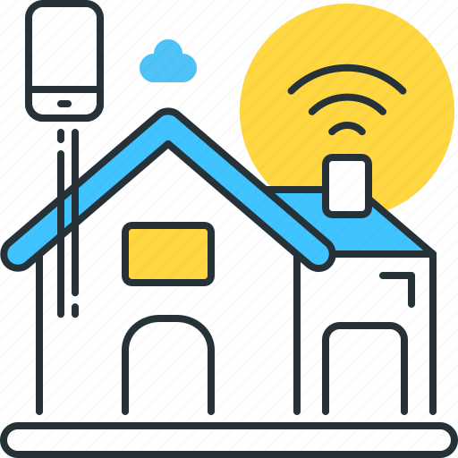 connected, estate, home, internet of things, smart, smartphone, wireless icon