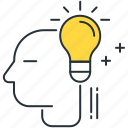 brainstorm, bulb, driven, idea, innovation, person, user icon