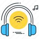 headset, listening, music, song, wifi, wireless icon
