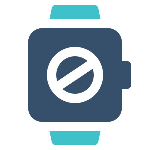 banned, block, smart, watch icon