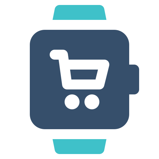 cart, smart, watch icon