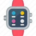 apps, call log, heart rate, menu, messages icon