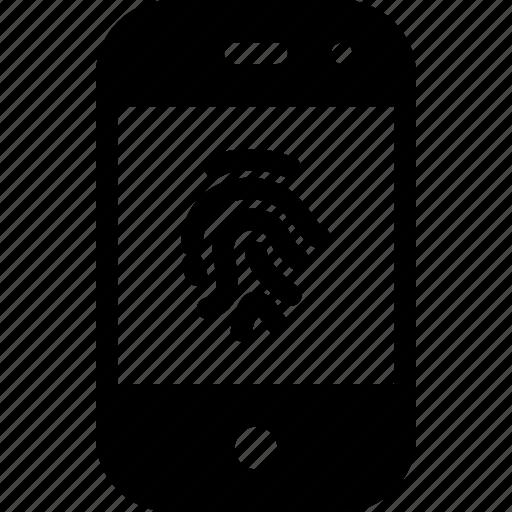 device, fingerprint, mobile, phone, smartphone icon