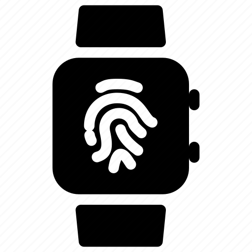 clock, fingerprint, smartwatch, timer, watch icon