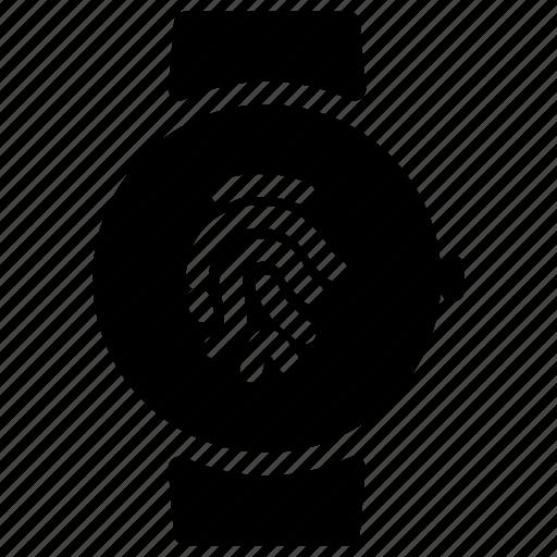 clock, fingerprint, smartwatch, time, watch icon
