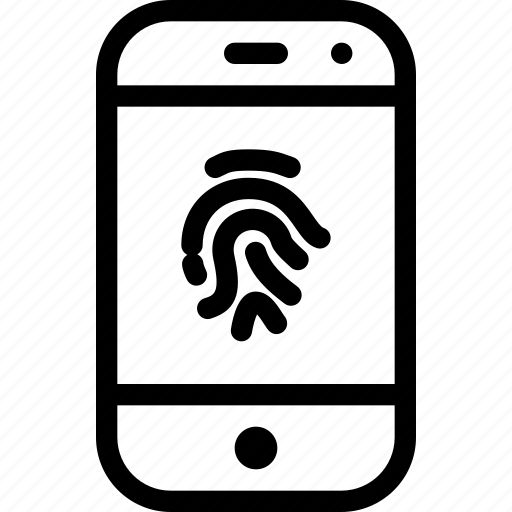 device, fingerprint, mobile, phone, smartphone icon