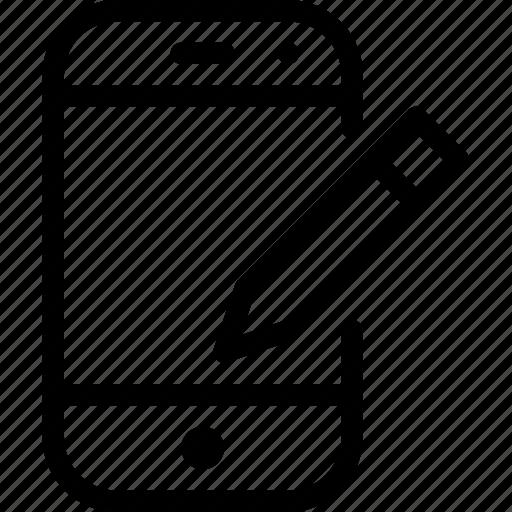 device, mobile, phone, smartphone, stylus icon