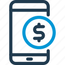 cell, coin, mobile, pay, phone, smart, smartphone icon