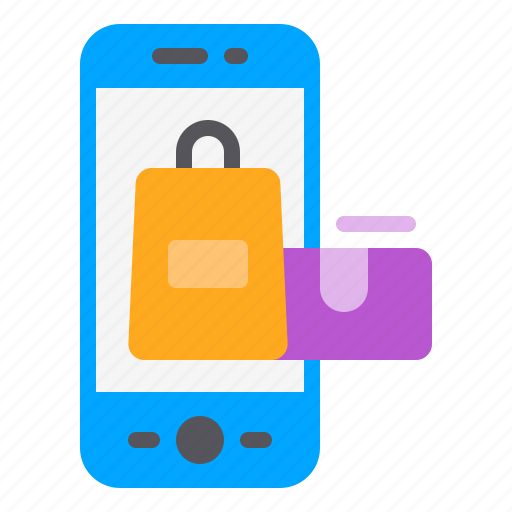 bag, online, phone, shopping, smartphone icon