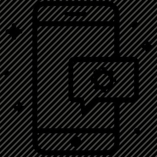 chat bubble, developer, development, mobile support, smartphone icon