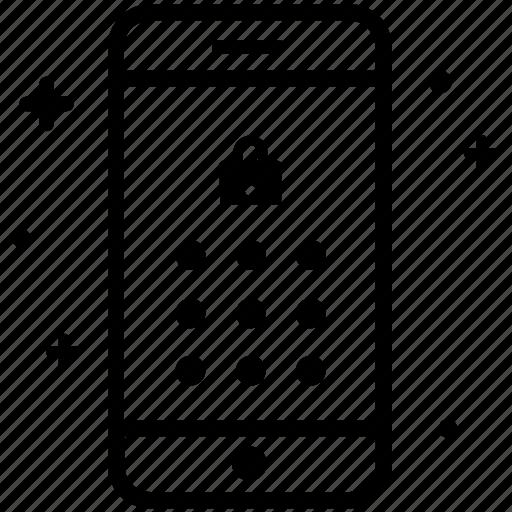 code, lock, mobile, password, pin, screen, smartphone icon