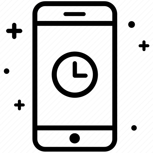 clock, mobile, schedule, smartphone, time icon
